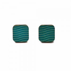 Dřevěné náušnice čtverce vlnky