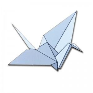 Brož jeřáb origami